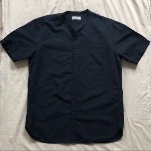 Uniqlo Blue Black Linen Button Up Short Sleeve